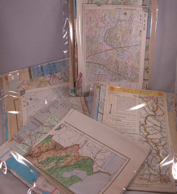 Special listing for Barb-1 packages of Vintage map pieces and 1 package vintage book pages.