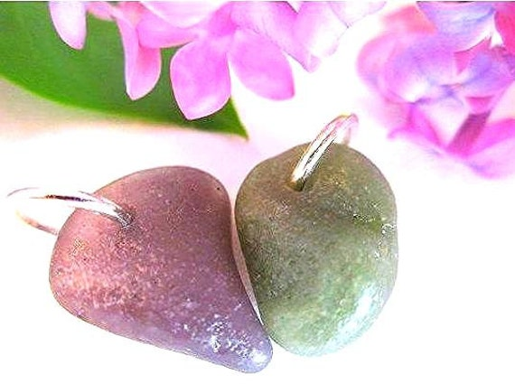 Lilac and Sage - Rare Slag Glass from Lake Michigan Pastel Beads for Supply Eco Friendly