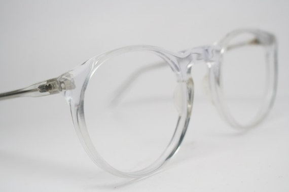 vintage eyeglass frames clear retro p3 shaped 1980s vintage eyewear nos deadstock