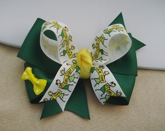 Bow Hair Clip - Green Yellow & White Hair Bow - Pinwheel with Tails Down Bow Hair Clip - Layered Hair Bow - Boutique Hair Clip