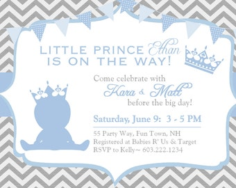 Prince Baby Shower Invitation Chevron Blue Gray - Prince Crown Shower Invite Chevron - Blue Gray - Baby Boy Shower Invite Chevron Prince