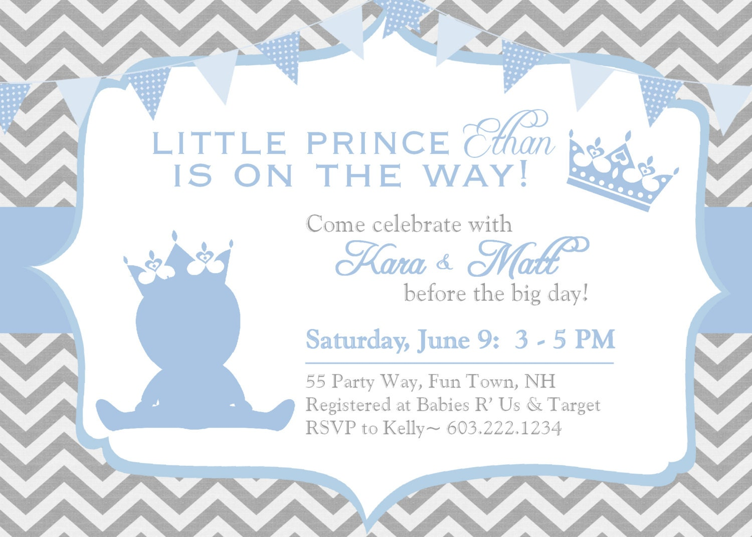 prince baby shower invitation chevron blue by asyouwishcreations4u