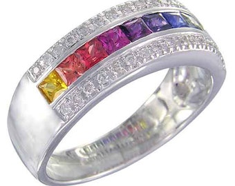 Multicolor Rainbow Sapphire & Diamond Channel Set Ring 18K White Gold (2.3ct tw) : sku 1533-18k-wg