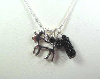 Necklace moose charm with black crystal and black beaded bead