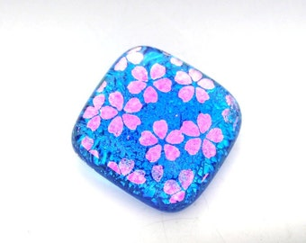Dichroic Glass Pendant Cabochon in Transparent Turquoise with Magenta Pink Cherry Blossom Flowers