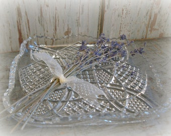vintage cut glass crystal relish dish / party table / serving plate