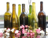 Set of 7 Hand Cut Wine Bottle Hurricane Candles- Perfect for the Table/Wedding
