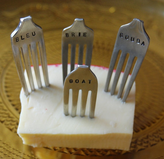 Set of 4 Hand Stamped Vintage Silver-plated Fork Cheese Markers