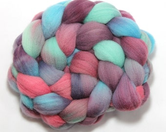 Hand Painted Roving - Berry Bright - Falkland Wool, 4 ounces.