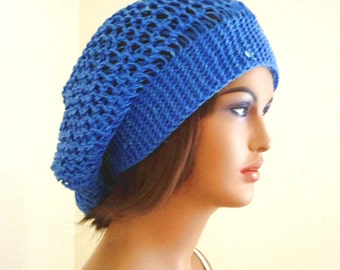 Slouchy womens beret, womens winter accessories, teenage hat, blue sluouchy beret, Valentines day gift
