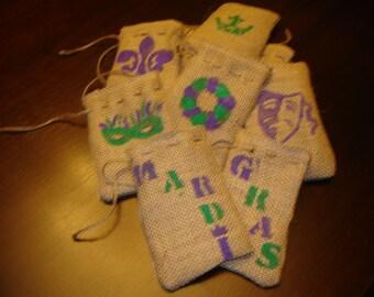 Set of TEN Burlap Mardi Gras Gift Favor Bags with Hand Painted Mardi Gras Symbols.  Custom Made