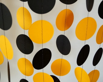 Black and Gold School Colors Garland, Graduation Decor, Birthday Party Paper Garland, Black & Yellow