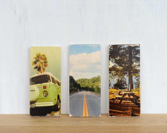 Image Transfer Photography Art Blocks - Set of 3 Fine Art Mini Photo Transfers on Wood by Patrick Lajoie, vintage cars, road trip, camping,