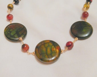 Green Disk Agate Necklace, Gold Necklace, Dragonsvein Agate necklace