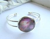 Bangle Bracelet, Nebula Bracelet, Silver Bangle, Galaxy Jewelry, Wearable Art