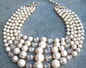 Vintage Necklace Five Strand Faux Pearl & Aurora Borealis Japan