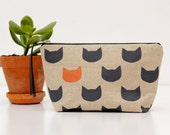 Midnight cats copper pouch - oatmeal linen and cotton - screen printed and handmade