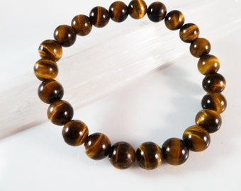 Tiger's Eye Stretch Bracelet Smooth Round Golden Yellow 8mm Bead Bracelet High Quality