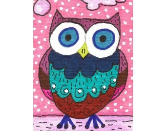 Whimsical Art, Owl Art, Owl Decor, Childrens Room Decor, Owl Art For Kids, Pink And Blue, Nursery Decor, Owl Print, Oscar Owl by Paula DiLeo