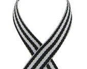 "3/8"" Striped Grosgrain Ribbon - BLACK - 5 Yards"