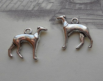 6 Greyhound Charms Well Crafted Shiny Silver Tone with Antique Finish 24 x 19 mm