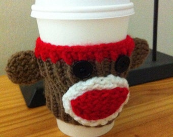 Hand Knitted Coffee Cup Cozy Sock Monkey for Starbucks Peets Coffee Cups