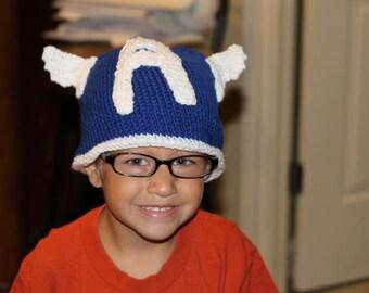 Knitted Kids Beanie Hat Captain America Super Hero