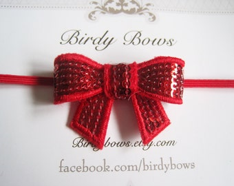 Red Sequin Bow Headband, Baby Headbands, Infant Headbands, Girl Headbands, Baby Girl Headbands, Baby Bow