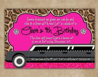 Limo Glam Birthday Digital Invitation