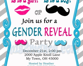 Gender Reveal Invitation Baby Shower Invites Printable DIY Invitations for Gender Reveal