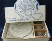 8 piece Snack Set - Jeannette Glass Camellia (Line 2736) pattern - New In Box