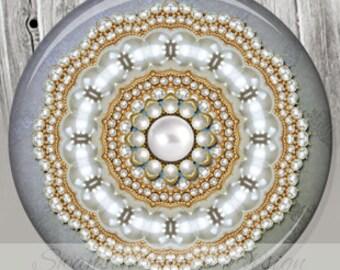 Pocket Mirror Wedding Favor - Grey Pearls Photo Mirror - Wedding Shower -Customized Compact Mirror A50