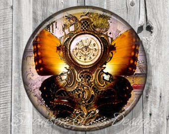 Pocket Mirror - Steampunk French Clock Butterfly Photo Mirror - Compact Mirror - Butterfly - Party Favor - Bridesmaid Gift A120