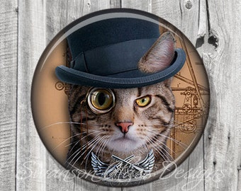 Steampunk Cat Pocket Mirror, Ocicat Cat Photo Mirror, Compact Mirror Illustration Image, Gift under 5, Accessories, Party Favor A121