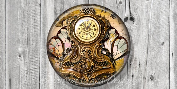 Pocket Mirror - Steampunk French Clock Butterfly Photo Mirror - Compact Mirror - Butterfly - Wedding Favor - Bridesmaid Gift A65