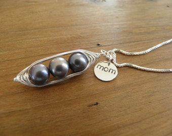 "Necklace... ""sweet peas in a pod"" three gray pearls wire wrapped in silver with hand stamped mom charm necklace."