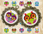 Cartoon Cute Little Owls Digital Collage Sheet 16 mm and 18 mm Circles images glass tiles resin pendants cabochon button JPG 156