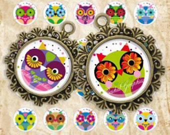 Cartoon Cute Little Owls Digital Collage Sheet 1 inch Circles Bottle cap images glass tiles resin pendants cabochon button JPG 156