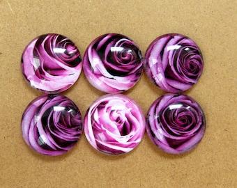 Purple Rose Magnets 6 Pc Set, Medium