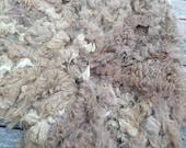 """Raw Alpaca Fleece, Med Fawn, """"Fluffy""""   55 oz"""