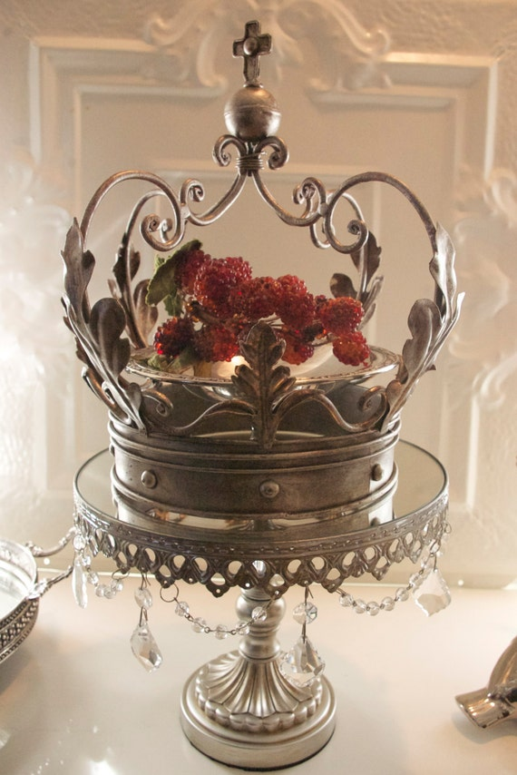 Metal Vintage Chic Crown Candle Holder Planter
