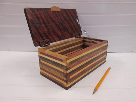 Wooden Box Desk Organizer Wood Box Keepsake Box Wood