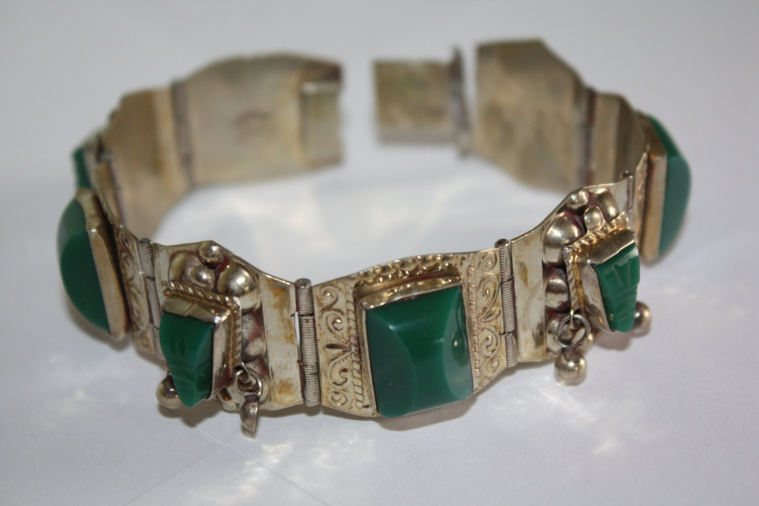 Vintage Bracelet Sterling Mexico Jade 1950s Jewelry