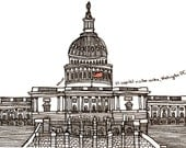 """Washington DC Drawing Print - US capitol visitor center , illustration black white wall art home decor - Size A4/ 8,27"""" x 11,7"""" UNFRAMED"""