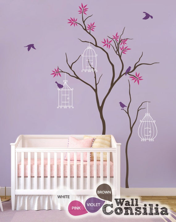 Baby nursery wall decals tree wall decal birdhouse decal large