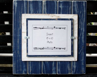 Picture Frame -  Distressed Wood - Holds an 8x10 Photo - Double Mats - Navy Blue & White