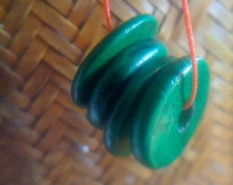 Holiday Sale  Handmade Green Fimo Polymer Clay Marbled Beads- Organic Flat Disc- Set of 4