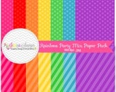 INSTANT DOWNLOAD,  rainbow party printable paper - digital paper -  8.5'' x 11''  - rainbow background - commercial use - scrapbook -