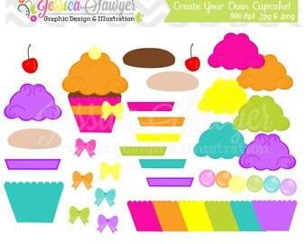 INSTANT DOWNLOAD,  Cupcake maker - cupcake clip art - commercial use -  - personal use - digital element - card making