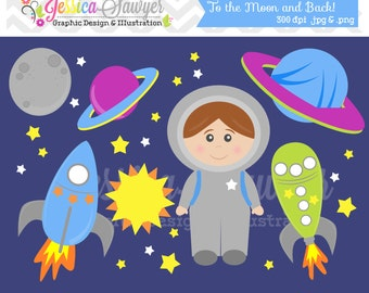 INSTANT DOWNLOAD,  space clip art - rocket ship clipart - commercial use - astronaut graphic - commercial use - sale